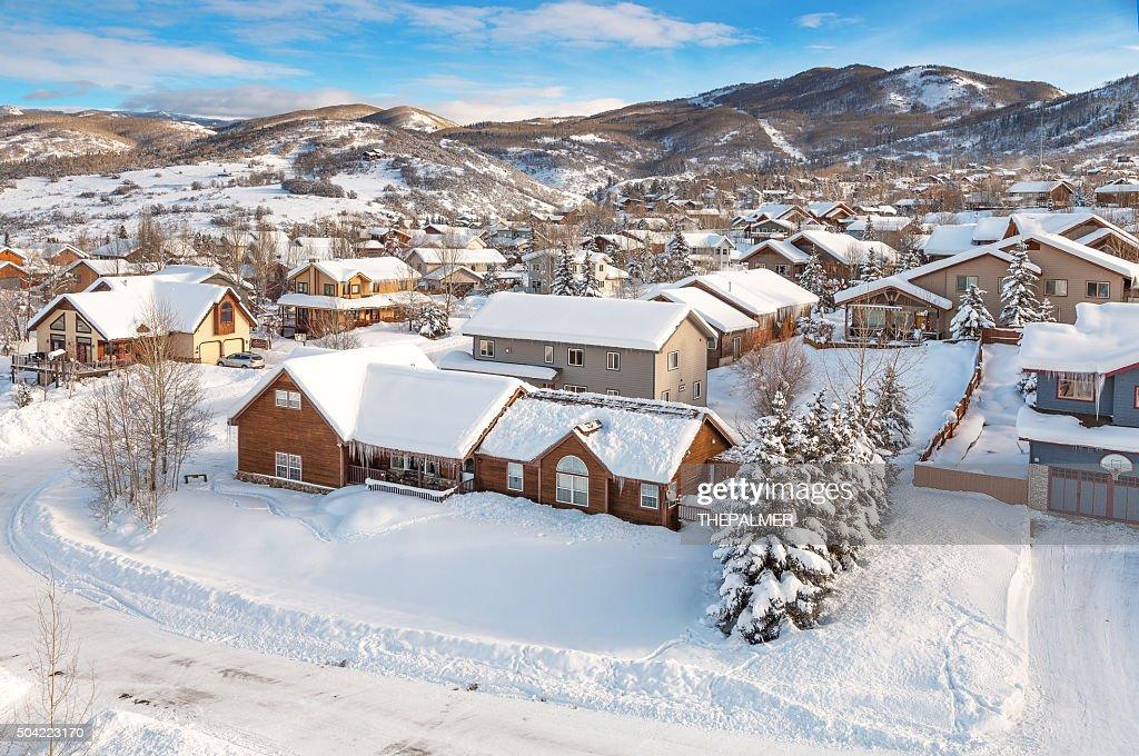Winter village from midair : Stock Photo