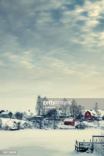 winter-dorf - schweden stock-fotos und bilder