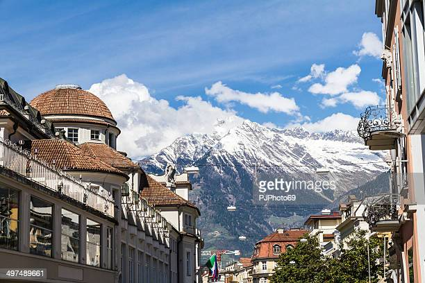 winter walk street - merano (italy) - pjphoto69 stock pictures, royalty-free photos & images
