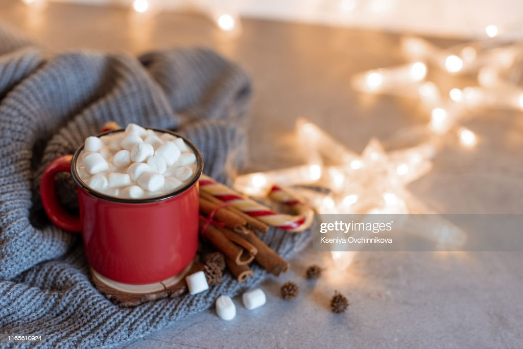 Winter whipped cream hot coffee in a red mug with star shaped cookies and warm scarf - rural still life : Stock Photo