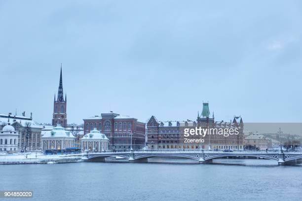 Winter white landscape of Stockholm city, Sweden