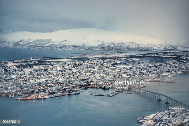 Winter white landscape of Tromso from the top bird eyes view