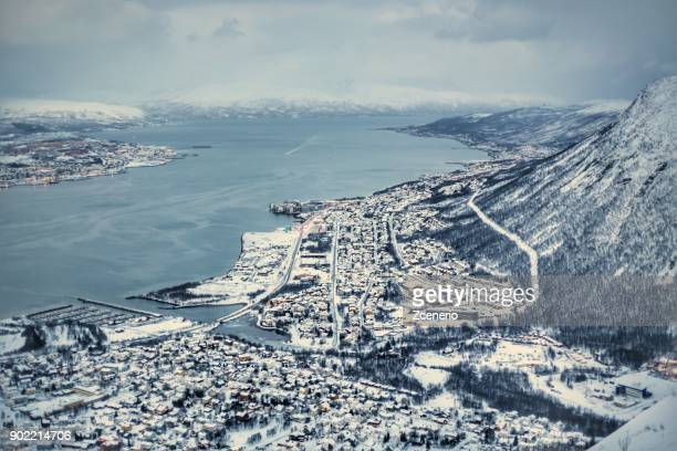 Winter white landscape of Tromso from top bird eye view