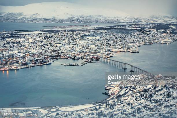 Winter white Landscapes of Tromso from top bird eye view.