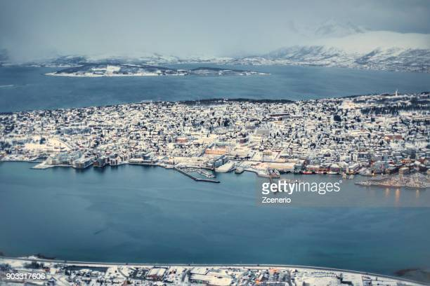 winter white landscapes of tromso from top bird eye view. - mere noel stock pictures, royalty-free photos & images