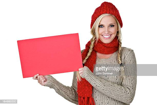Winter Woman holding copy space sign