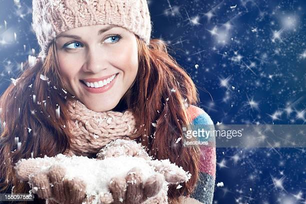 Winter Frau Wegsehen