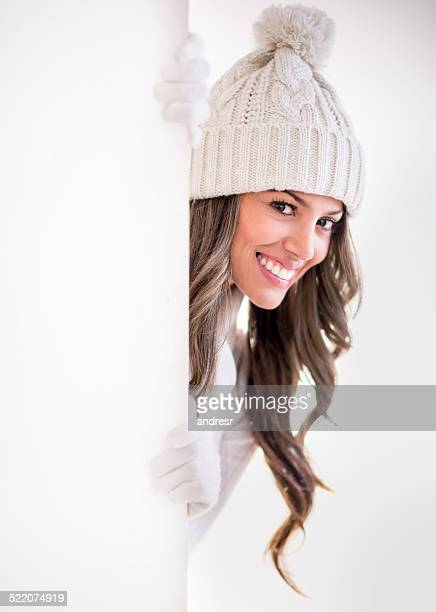 winter woman with a banner - christmas banner stock photos and pictures