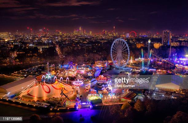 Winter Wonderland fair marks the start of the Christmas season in Central London at Hyde Park on November 20 2019 in London United Kingdom The Shard...