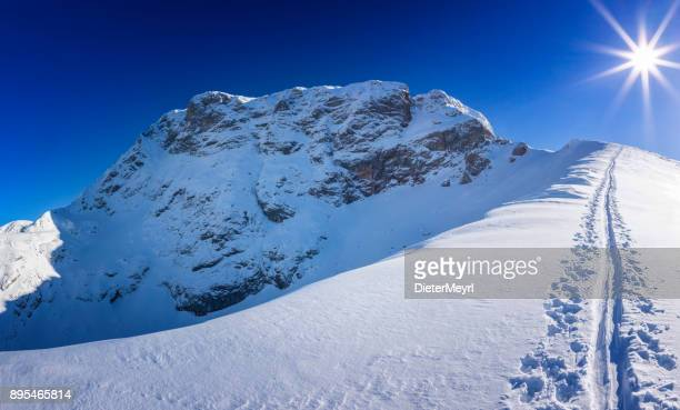 winter wonderland in the alps with traces from skitour to the summit - berchtesgadener land stock photos and pictures