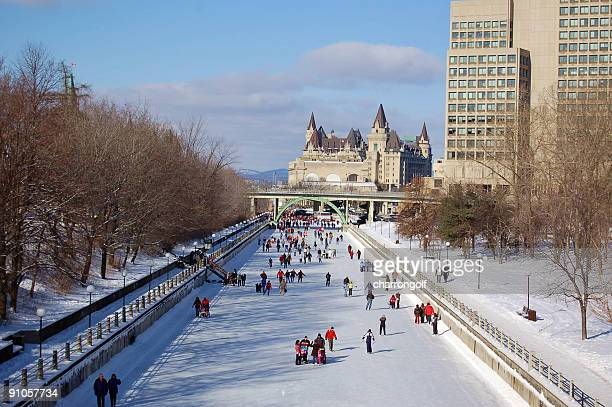 winter wonderland rideau canal (unesco) - ottawa stock pictures, royalty-free photos & images