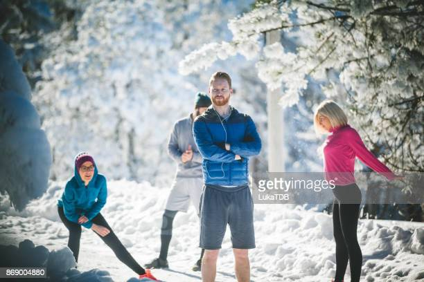 Winter work out on snowy mountain
