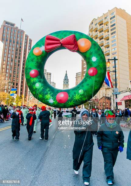 Winter Wreath balloon during the 98th Annual 6abc/Dunkin' Donuts Thanksgiving Day Parade on November 23, 2017 in Philadelphia, Pennsylvania.