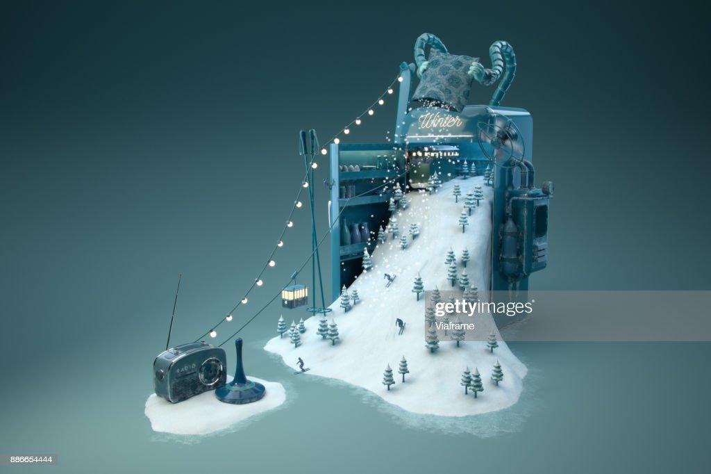 Wintermaschine - quer : Stock-Foto