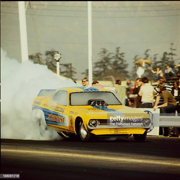 Winternationals Drag Race Pomona Don The Shoe Schumacher's Stardust Plymouth Barracuda Funny Car leaves the starting line