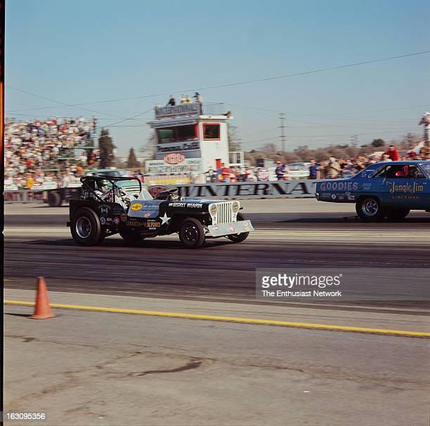Winternationals Drag Race Pomona Secret Weapon Jeep Funny Car of Roger Wolford versus Jungle Jim Liberman's Chevrolet Nova Shortly hereafter truck...