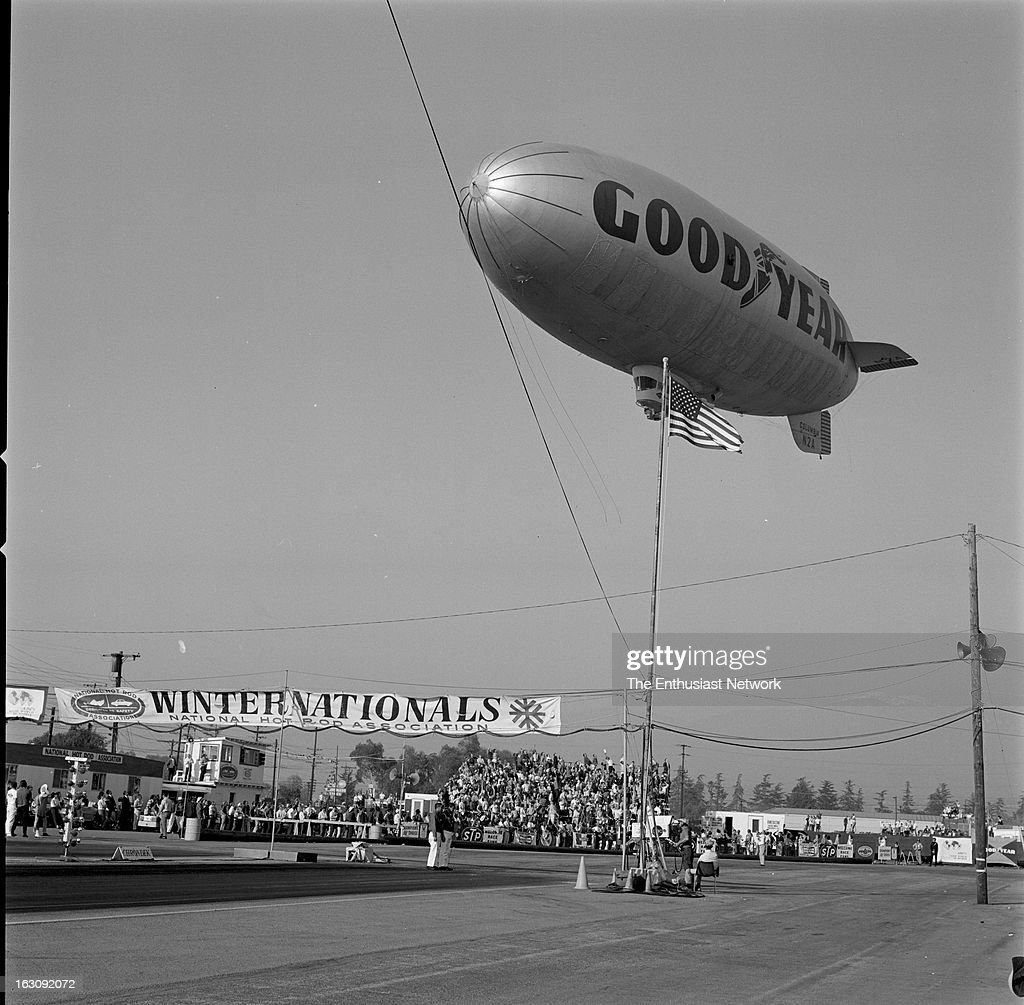 1967 nhra winternationals pomona pictures getty images winternationals pomona the goodyear blimp columbia n2a flies low over the crowd publicscrutiny Images