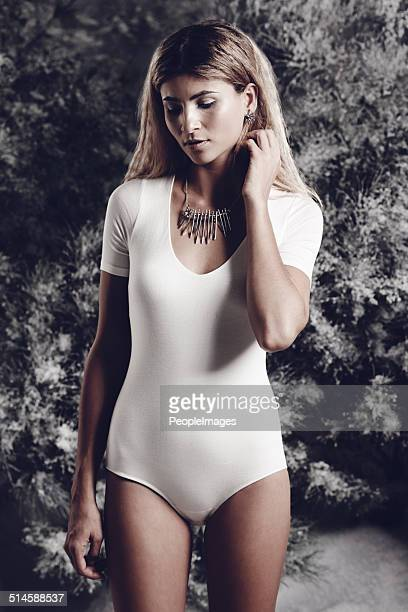 winter's beauty personified - leotard stock photos and pictures