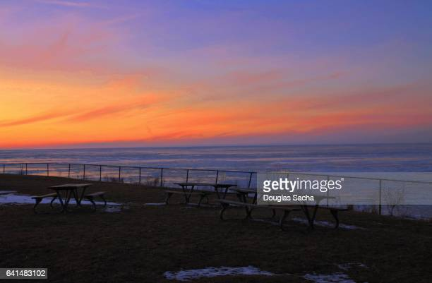 Winters colorful sunset over the frozen lake