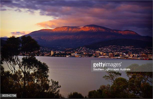 A winter's dawn and views across the Derwent estuary to Hobart and Mount Wellington.