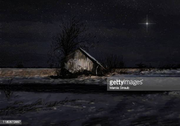 winter's silent night old barn - religious symbol stock pictures, royalty-free photos & images