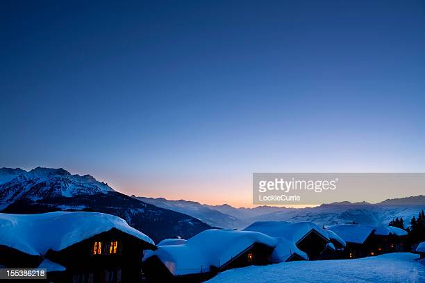 winters sunset - village stock pictures, royalty-free photos & images