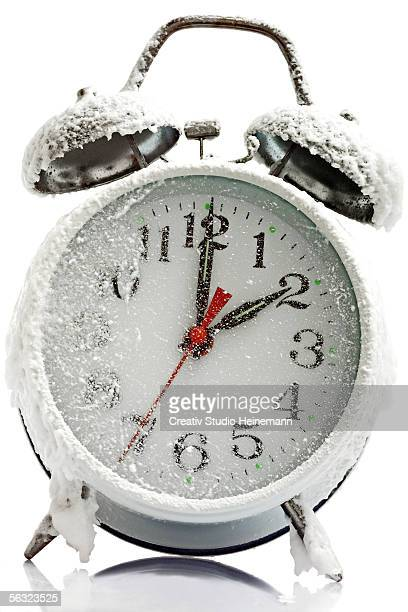 Clock, with frost, indicating wintertime