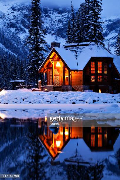 Wintery Cabin Reflected