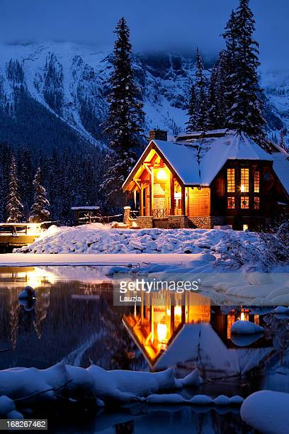 Wintery Cabin Reflection