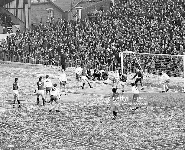 Wintery conditions at Villa Park during the match between Aston Villa and Bury being played on a frozen pitch 15th February 1969 Aston Villa won 10