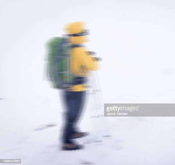 wintery scene of a blurred man in a snow storm - jasmin sturm stock-fotos und bilder