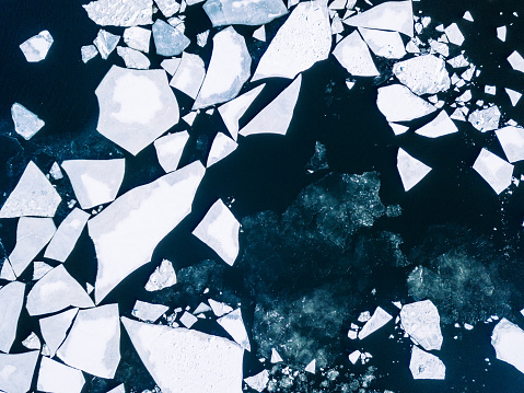 Wintery top-down aerial view of cracked ice on Baltic Sea around Helsinki - gettyimageskorea