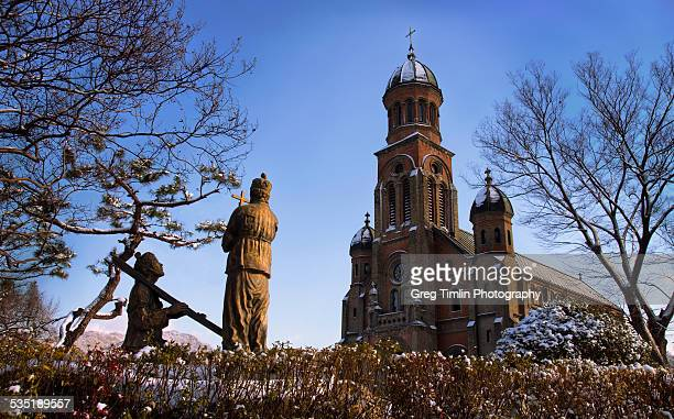 wintery worship cathedral - jeonju stock pictures, royalty-free photos & images