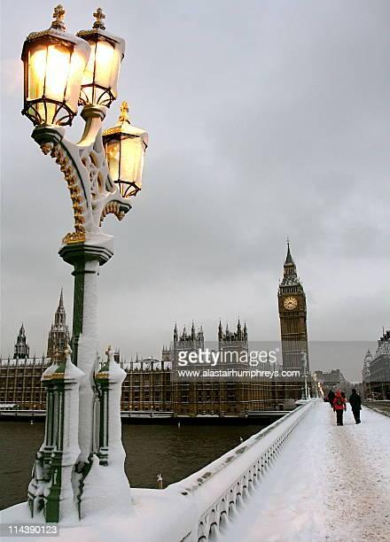 Wintry Big Ben in  snow
