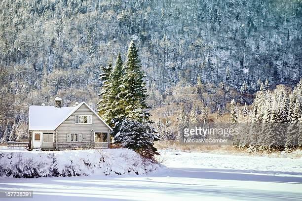 Wintry Canadian Forest landscape with empty cabin