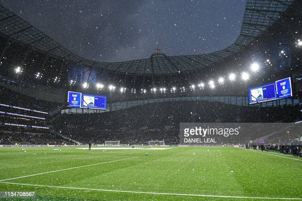 Wintry weather conditions are experienced inside the ground ahead of the first Premier League game to be played at their new stadium the English...