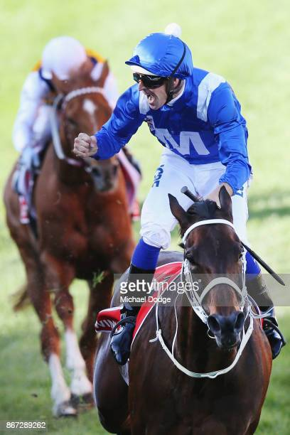 Winx ridden by Hugh Bowman wins race 9 the Ladbrokes Cox Plate during Cox Plate Day at Moonee Valley Racecourse on October 28 2017 in Melbourne...