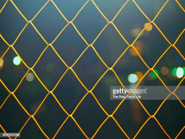 wire at urban night - forbidden stock pictures, royalty-free photos & images