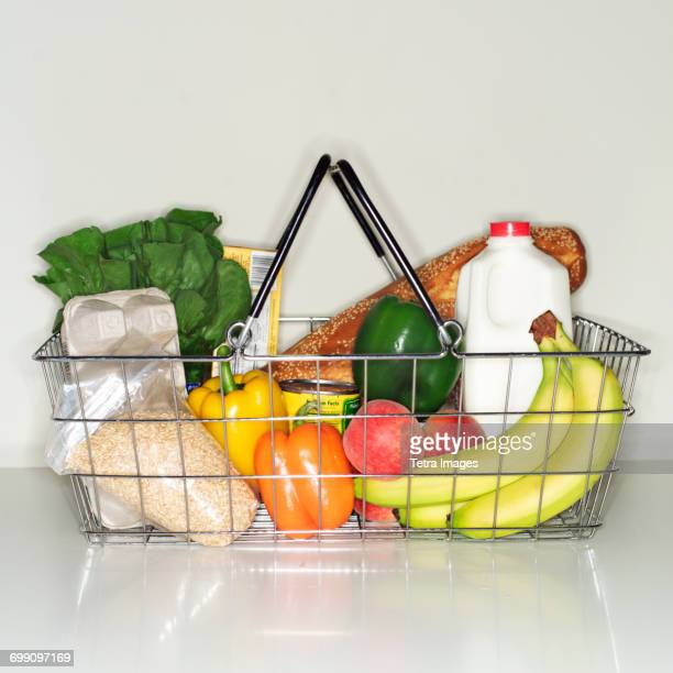 Wire basket full of groceries