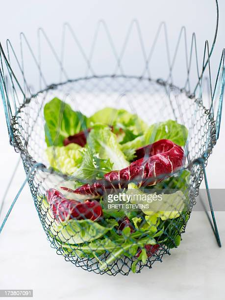 Wire bowl of mixed salad