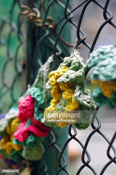 Wire Fence Flower Yarn Bomb