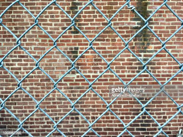 Wire Fence in Front of Brick Wall