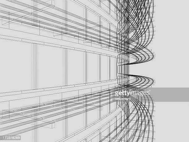 wire frame architectural background - model building stock photos and pictures