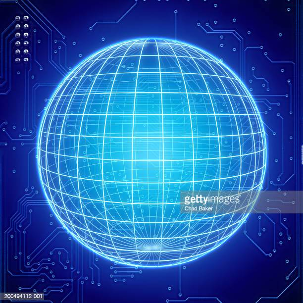 Wire frame sphere with circuit board in background