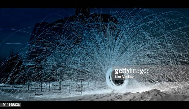 Wire wool spinning on snow, blue and white light effect