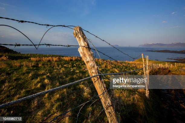 Wired fence on a hill with the sea in the background