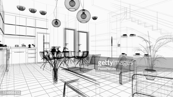 Gitternetzlinien 3d Moderne Zuhause Innen Render Bild