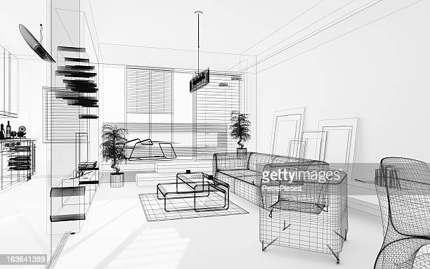 Wireframe 3D Modern Interior. Blueprint. Render Image. Architecture Abstract.