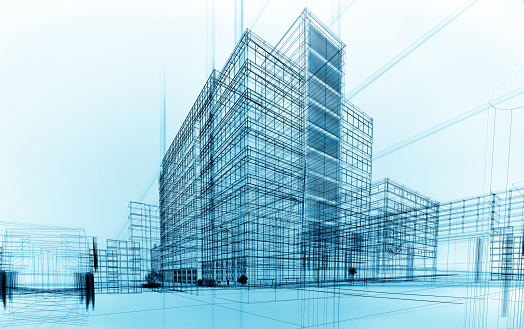 wireframe buildings 534644127