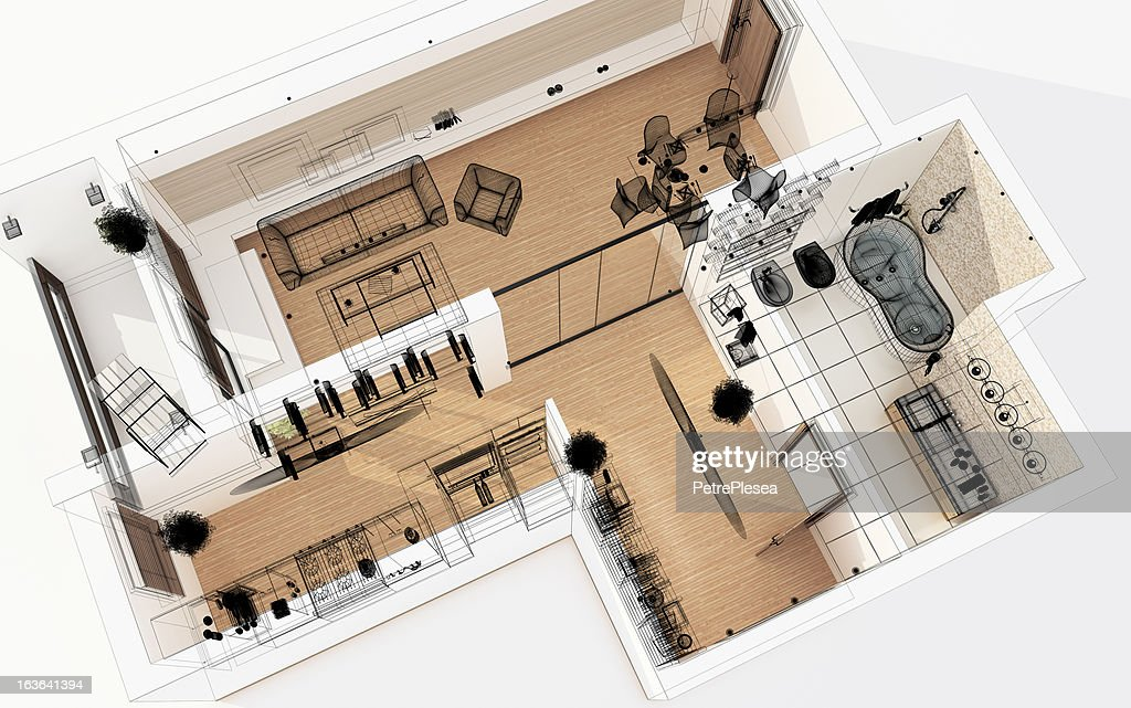 3D Wireframe Top View of Apartment. Planning. : Stock Photo